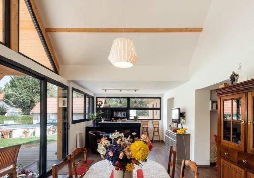 extension maison bois et verre