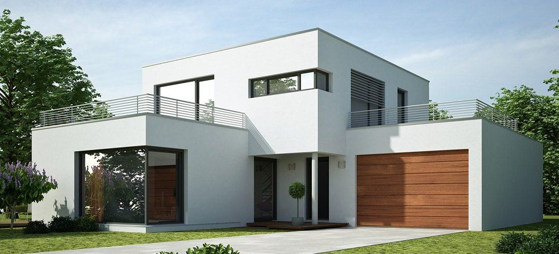 un garage moderne à toit terrasse