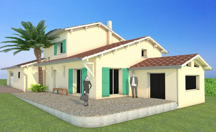 plan 3D d'une extension de maison traditionnelle