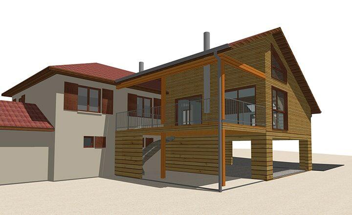 plan 3D extension ossature bois