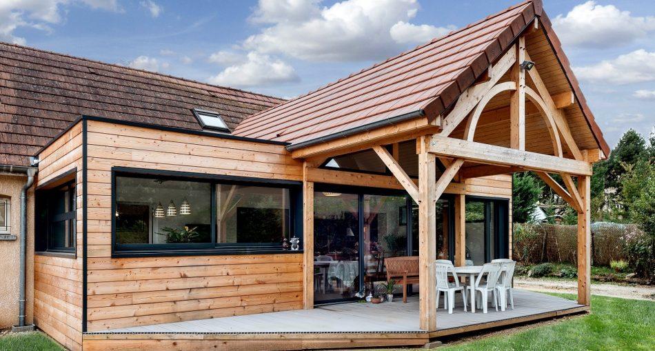 Extension de maison avec terrasse couverte
